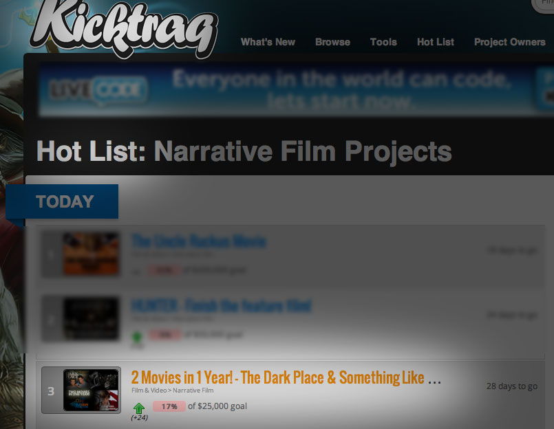 Our Kickstarter Project Ranked No. 1 on Kicktraq's Hot List